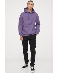 H&M Hoodie Relaxed Fit - Purple