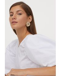 H&M Puff-sleeved Cotton Blouse - White