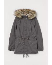 H&M Pile-lined Parka - Grey