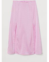 H&M Slit-hem Skirt - Pink