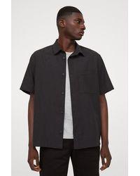 H&M Relaxed Fit Linen-blend Shirt - Black