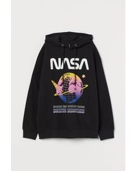H&M Cotton Hooded Top - Black