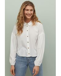 H&M Puff-sleeved Blouse - White
