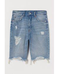 H&M Jeansshorts High Waist - Blau