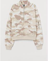 H&M Shirt mit Zipper - Natur