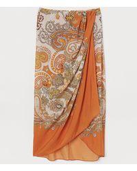 H&M Lyocell-blend Wrapover Skirt - Orange