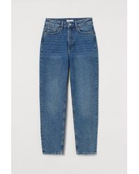 H&M Slim Mom High Ankle Jeans - Blau