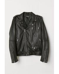 H&M Veste en cuir de style motard - Noir