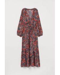 H&M Longue robe portefeuille - Bleu