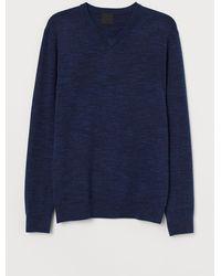 H&M V-Pullover aus Baumwolle - Blau