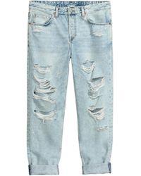 H&M Boyfriend Low Ripped Jeans - Blue