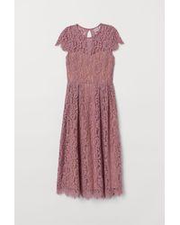 H&M Kanten Midi-jurk - Roze
