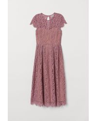 H&M Calf-length Lace Dress - Pink
