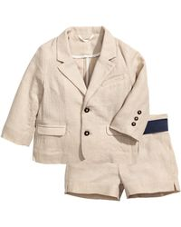 H&M Linen-blend Shorts And Jacket - Natural