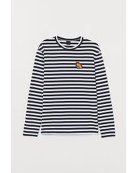 7c83baeb675664 H&M Long Sleeve T-Shirt in White for Men - Lyst