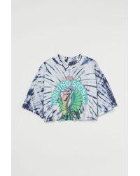 H&M Kurzes T-Shirt mit Druck - Weiß