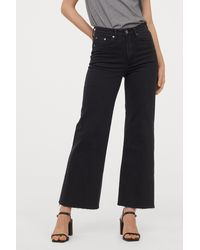 H&M Wide High Ankle Jeans - Black