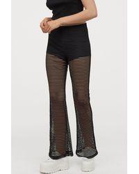 H&M Flared Mesh Leggings - Black