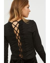 H&M - Top With Lacing - Lyst