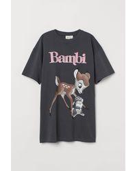 H&M Oversized T-shirt Met Motief - Grijs