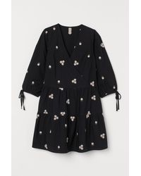 H&M Embroidered Dress - Black