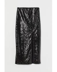H&M Jupe à paillettes fendue - Noir