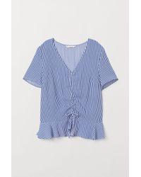 H&M Viscose Blouse Met Dessin - Blauw