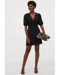 H&M Puff-sleeved Cotton Dress - Black