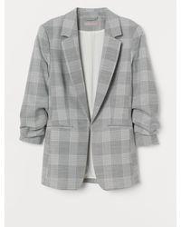 H&M Blazer mit gerafftem Arm - Grau