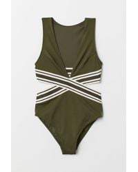 H&M Cut-out Swimsuit - Green