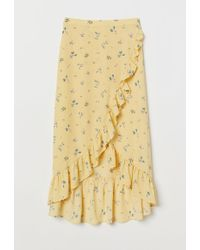 H&M - Flounced Wrap-front Skirt - Lyst