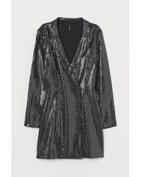 H&M Sequined Jacket Dress - Black