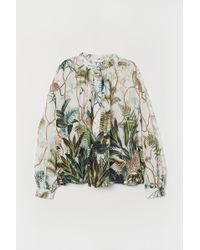 H&M Grandad Collar Viscose Blouse - Green