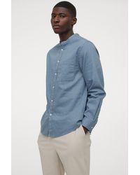 H&M Linen-blend Grandad Shirt - Blue