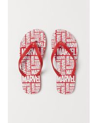 H&M Flip-flops With Printed Design - Red