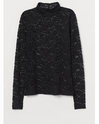 H&M - Shirt in Spitze mit Turtleneck - Lyst