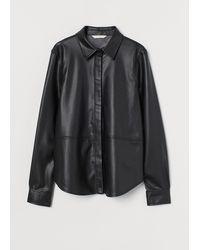 H&M Bluse aus Lederimitat - Schwarz