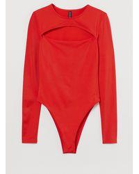 H&M Long-sleeved Bodysuit - Red