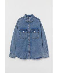 H&M Oversized Denim Shirt - Blue