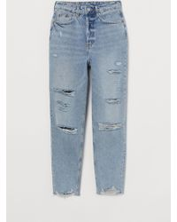 H&M Slim Mom High Ankle Jeans - Blue