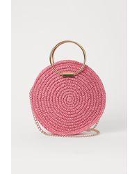 H&M Round Straw Shoulder Bag - Pink