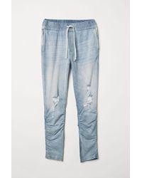 H&M Slim Low Sweatpants - Blue