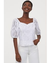 H&M Broderie Anglaise Blouse - White