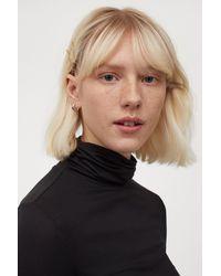 H&M Short Polo-neck Top - Black