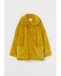 H&M Faux-fur-Jacke - Gelb