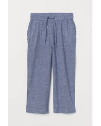H&M Linen-blend Culottes - Blue