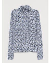 H&M Jersey Polo-neck Top - Black