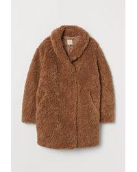 H&M Faux Fur Teddy Coat - Natural