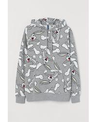 H&M Kapuzenshirt mit Druck - Grau