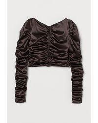 H&M - Drapiertes Shirt - Lyst